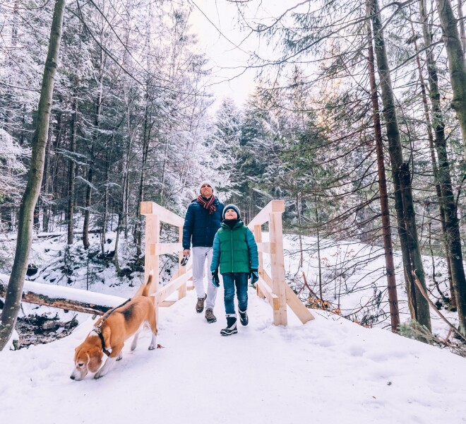 Family on hike in winter