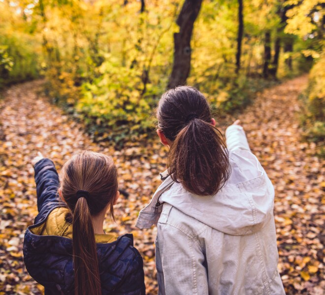 Family enjoying the forest in fall