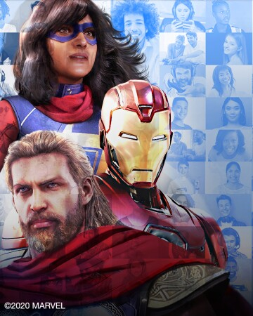Kamala Kahn, Iron Man, and Thor are assembled together. A closer look at the image reveals that it is a mosaic made up of smaller images of a large variety of different gamers.