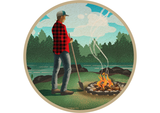 Man with Shovel Near Campfire