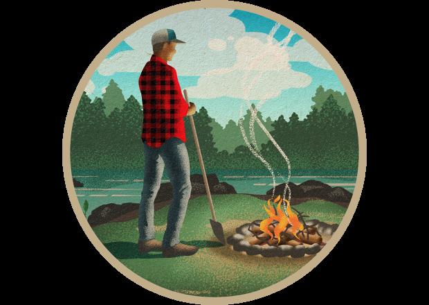Man with Shovel Near Campfire