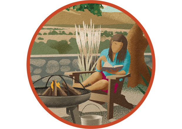 Woman Reading Near Campfire