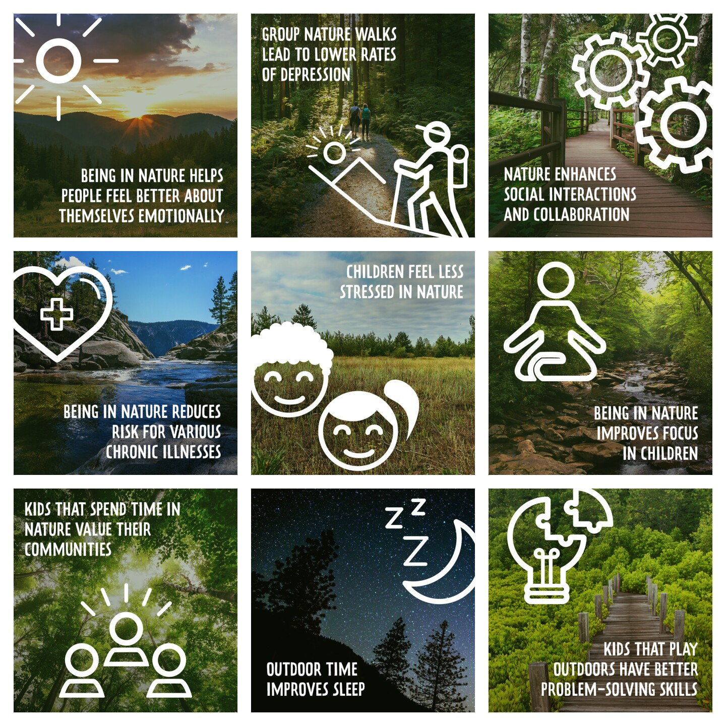 Images and copy that showcase the many health benefits one can find in nature like reduced stress