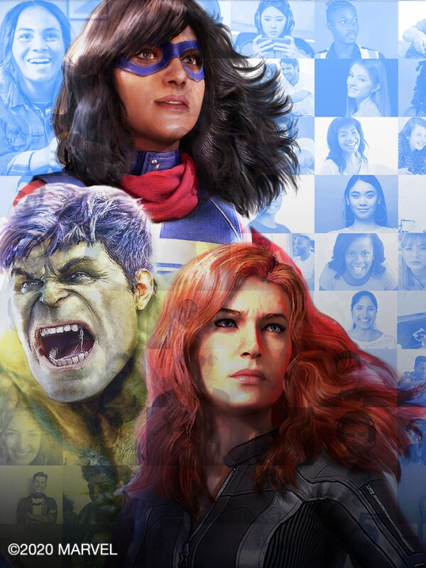 Kamala Kahn, Hulk, and Black Widow are assembled together. A closer look at the image reveals that it is a mosaic made up of smaller images of a large variety of different gamers.