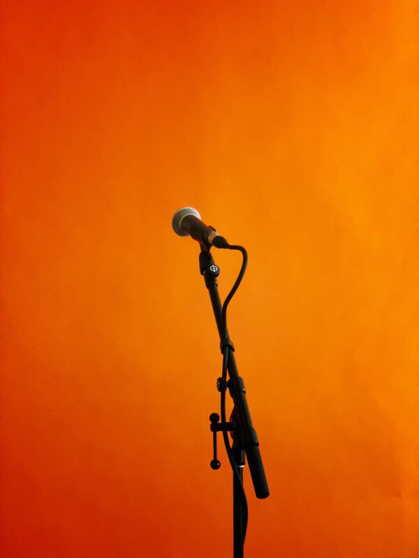 Microphone with orange background