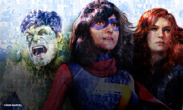 The Hulk, Kamala Kahn, and Black Widow are assembled together. A closer look at the image reveals that it is a mosaic made up of smaller images of a large variety of different gamers.